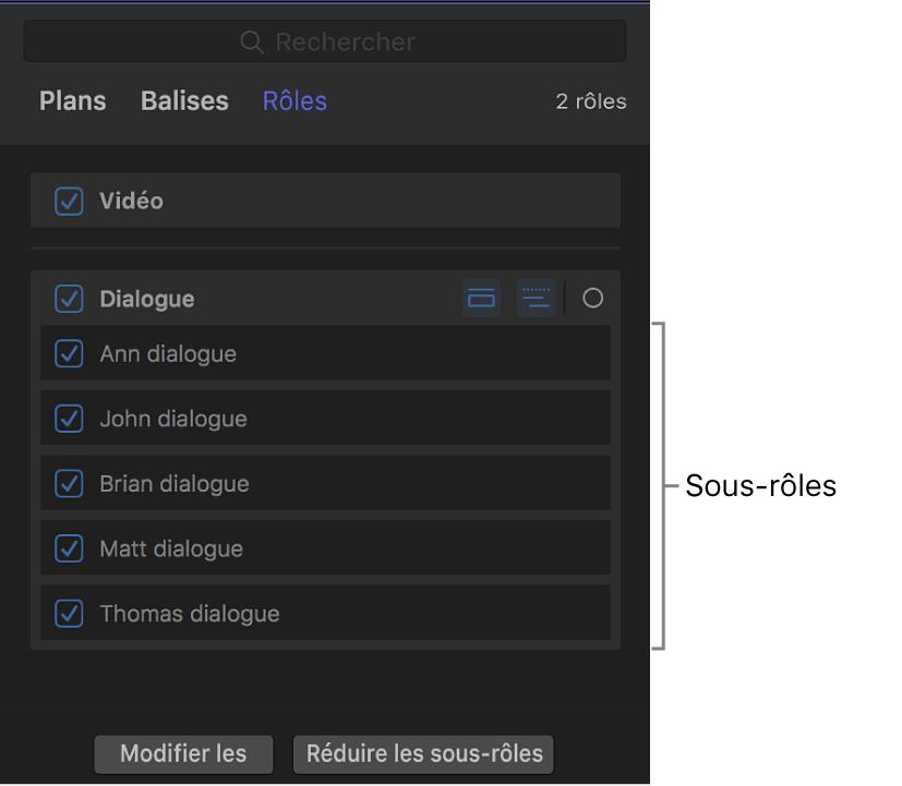 Index de la timeline affichant la liste des sous-rôles en dessous du rôle Dialogue
