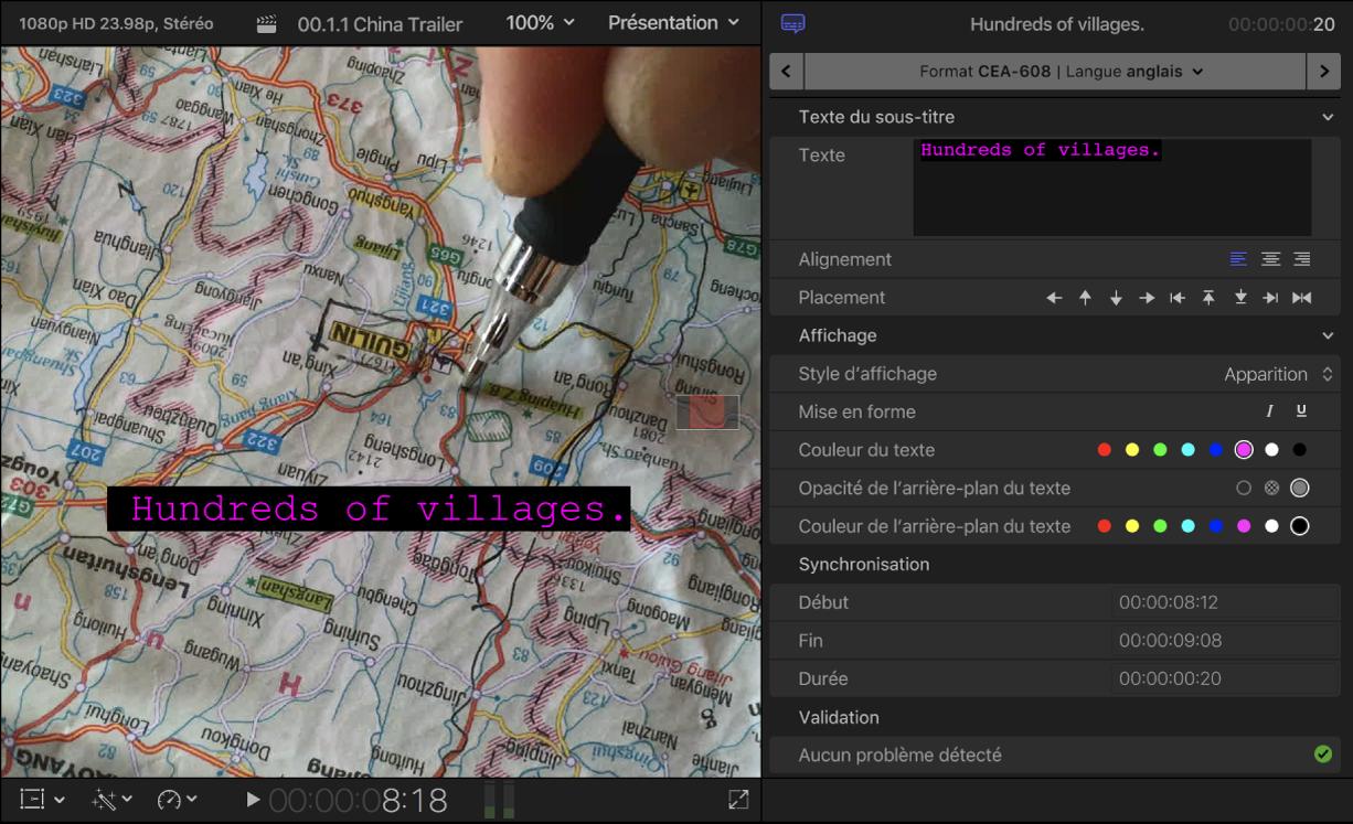 Visualiseur et inspecteur de sous-titre montrant les commandes de mise en forme de texte de sous-titre