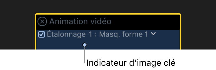Éditeur d'animation vidéo montrant une image clé