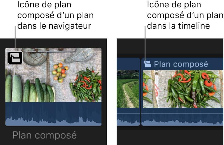 Une icône de plan composé sur un plan dans le navigateur et dans la timeline