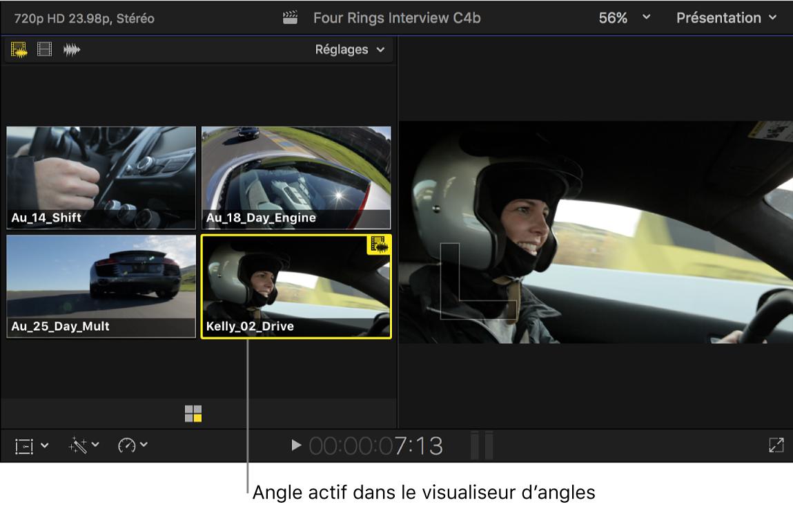 Visualiseur d'angle indiquant l'angle actif d'un plan multicam