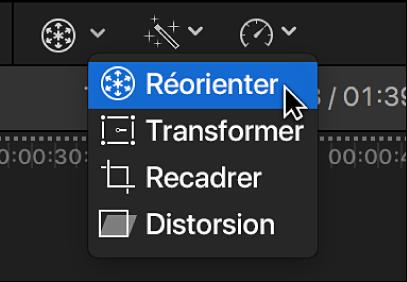 Élément de menu Réorienter permettant d'accéder à la commande Réorienter