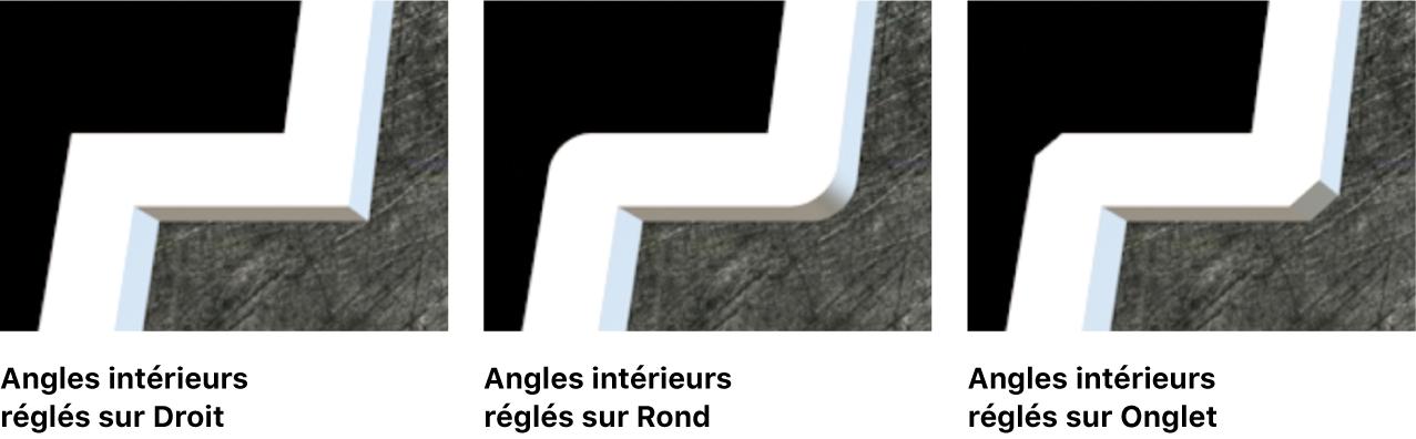 Trois instances de texte3D dans le visualiseur avec ses Coins intérieurs réglés sur Droit, Rond et Angle