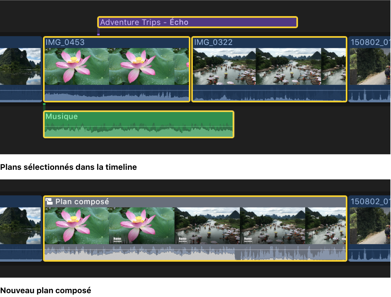 Projet dans la timeline avant et après sa simplification à l'aide d'un plan composé