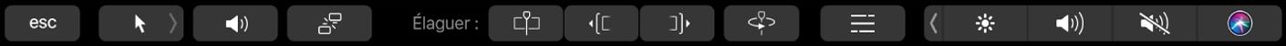 TouchBar affichant les commandes pour le montage dans la timeline