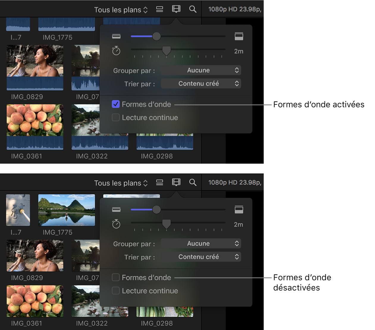 Pellicules dans le navigateur avant et après la désactivation des formes d'onde audio à l'aide de la case Formes d'onde
