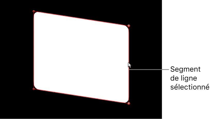 Visualiseur affichant un segment de ligne d'un côté d'une forme de masque en cours d'ajustement