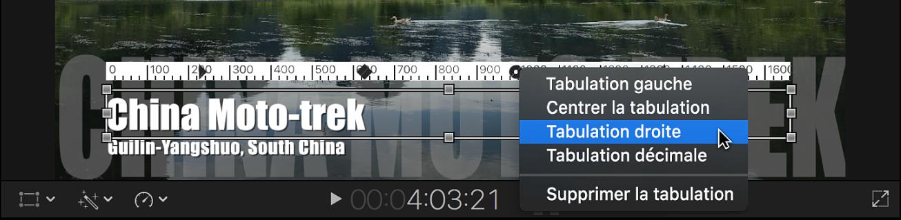 Règle au-dessus d'un objet de texte de paragraphe dans le visualiseur, avec un menu contextuel présentant les options de sélection de type de tabulation