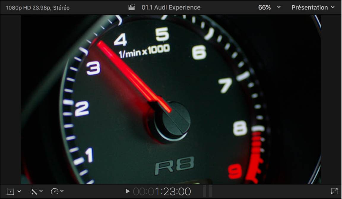 Visualiseur affichant la vidéo de premier plan à incruster en luminance avec l'image d'un compteur de vitesse