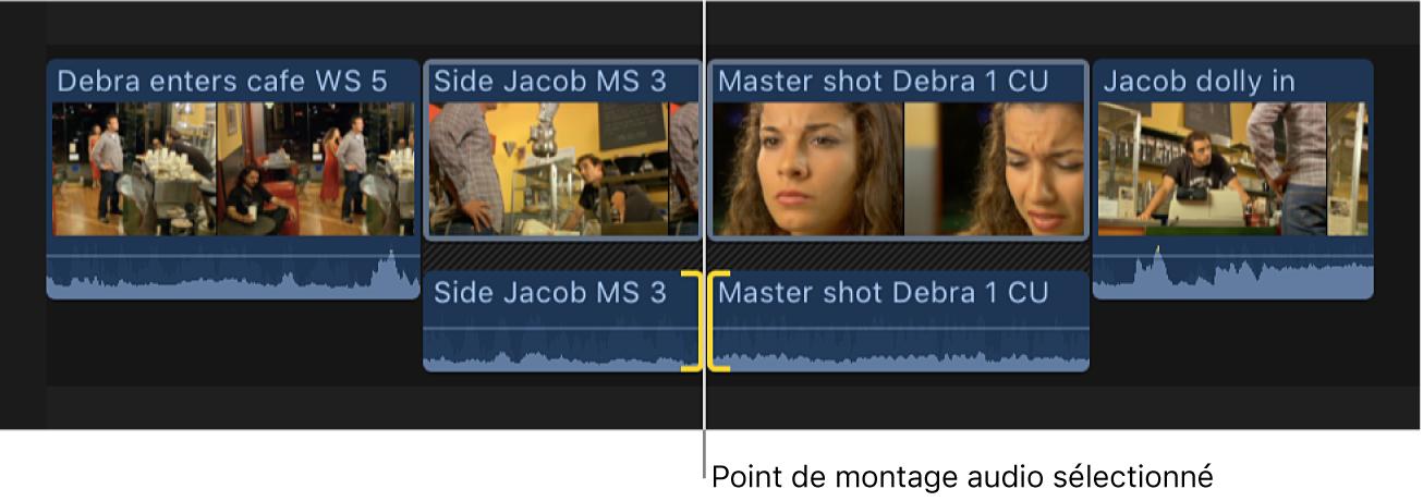 Les deux côtés d'un point de montage audio sélectionnés dans la timeline