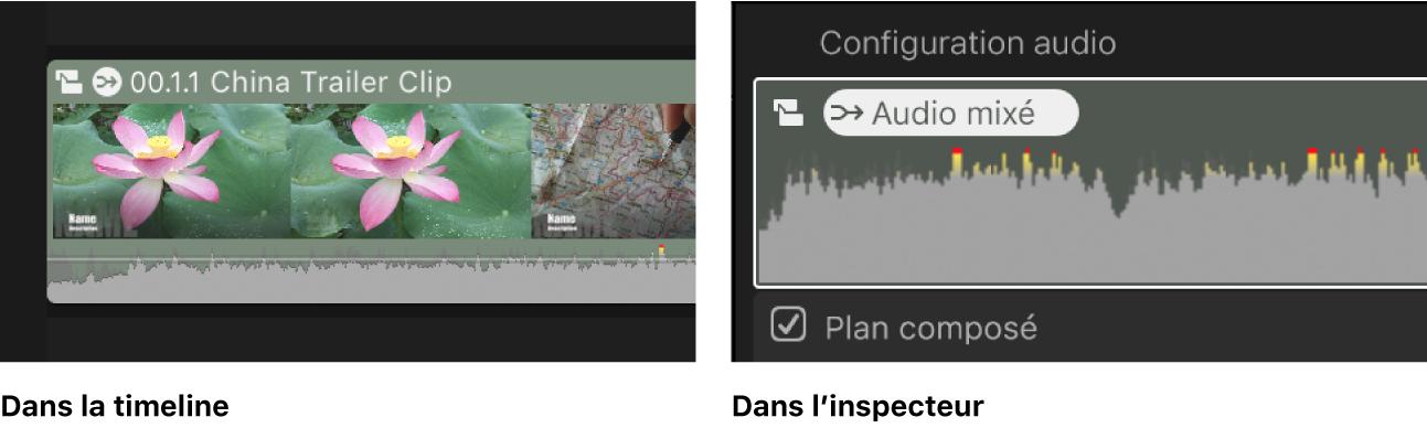 Même plan dans la timeline et l'inspecteur audio, montrant l'icône Audio mixé