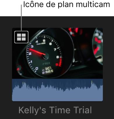 Un plan multicam dans le navigateur avec une icône de plan multicam dans le coin supérieur gauche