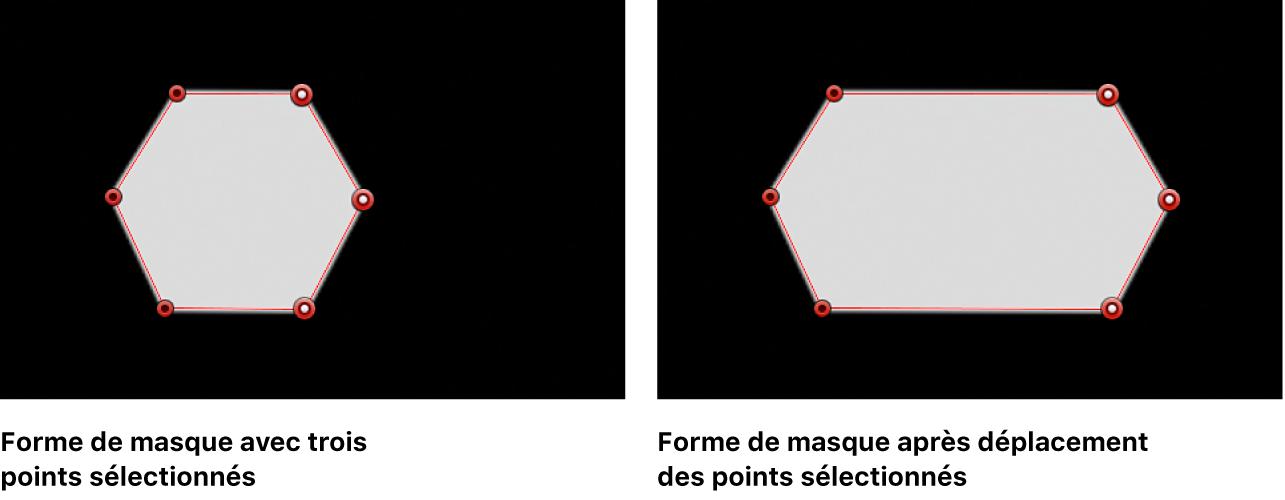 Visualiseur affichant une forme de masque avant et après le déplacement vers la droite de trois points de contrôle