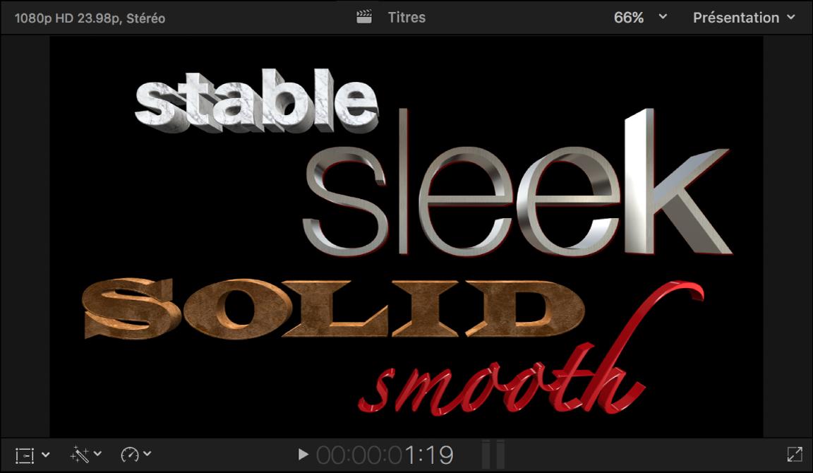 Visualiseur montrant plusieurs titres3D avec un certain nombre de calques de matériau