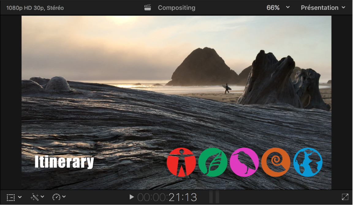 Visualiseur affichant le résultat du compositing d'un plan avec canal alpha sur un plan d'arrière-plan- une rangée d'icônes est superposée sur le fond vidéo