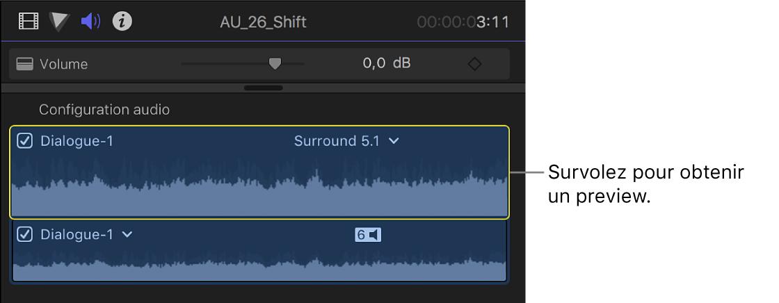 Composants audio dans la section Configuration audio de l'inspecteur audio