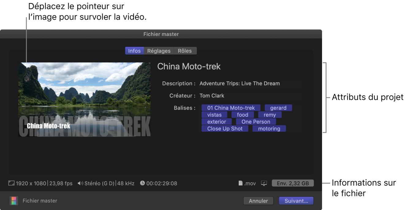 Fenêtre Infos de la fenêtre Partager pour la destination Fichier master