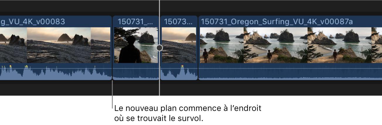 Un plan ajouté à la timeline, avec le point de départ à l'endroit du survol