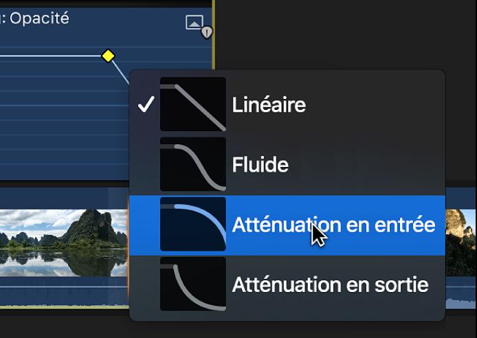 Options de forme de courbe dans un menu contextuel de l'éditeur d'animation vidéo