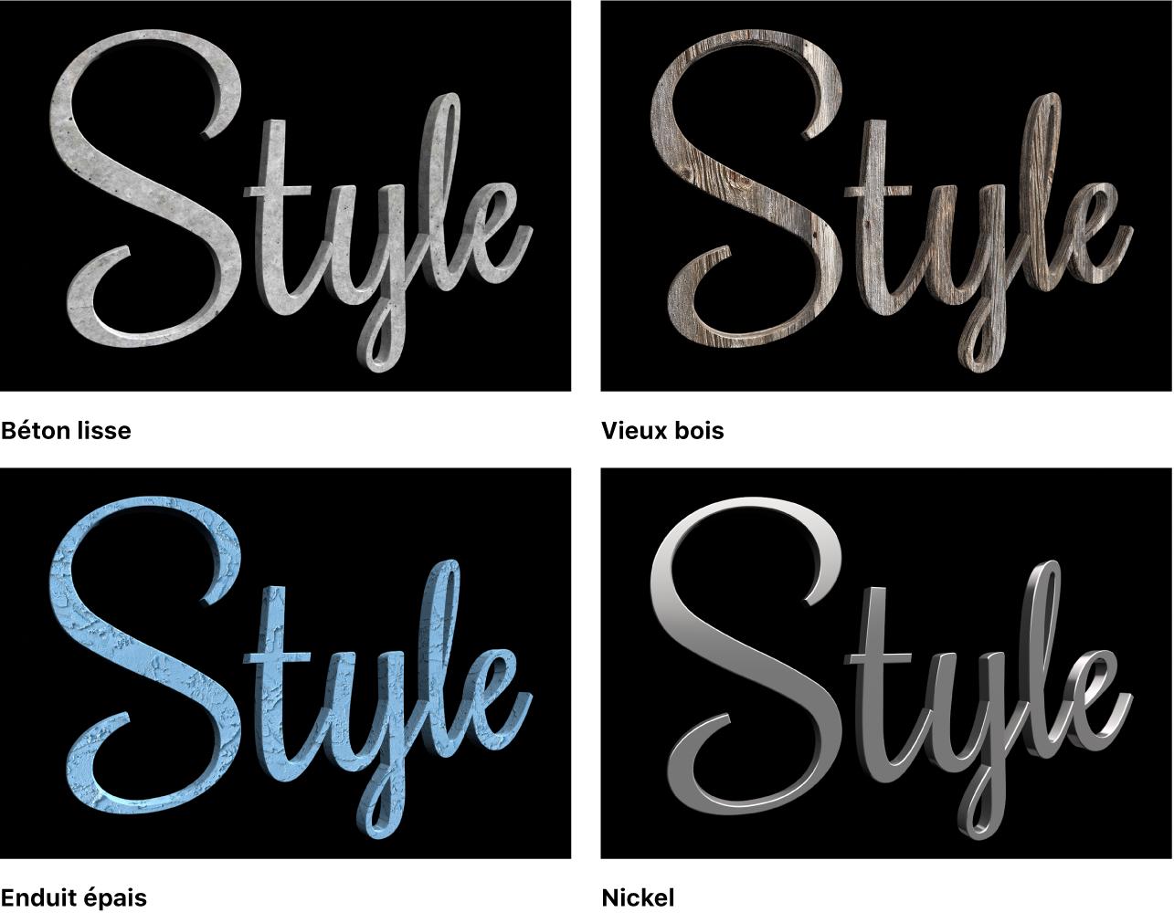 Visualiseur affichant quatre versions d'un titre 3D correspondant à l'application de différents matériaux prédéfinis: Béton lisse, Vieux bois, Enduit épais et Nickel