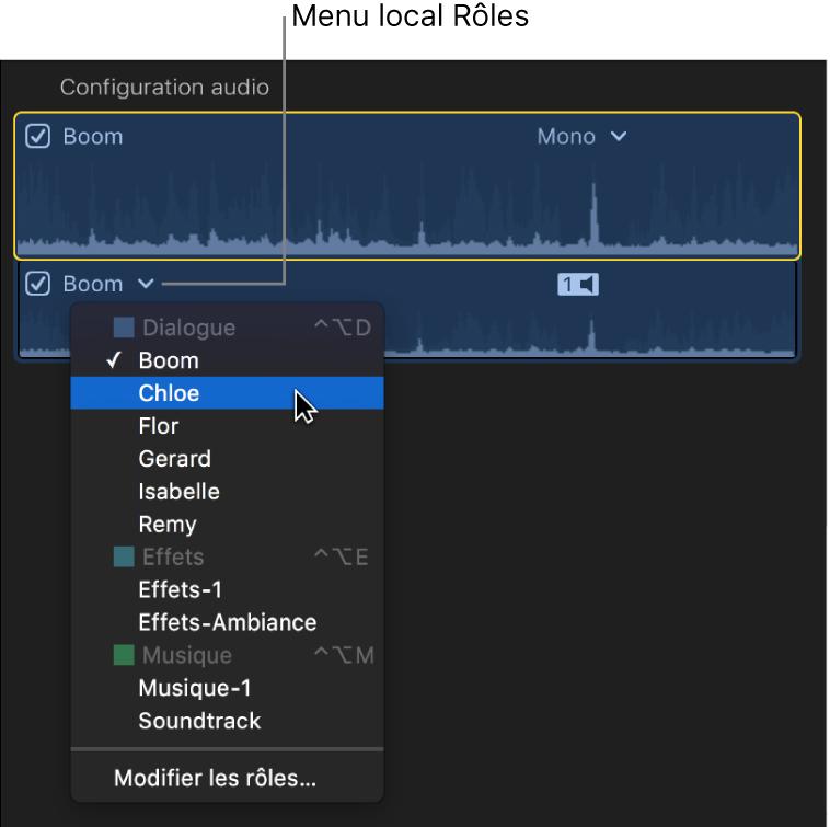 Menu local Rôles d'un composant audio