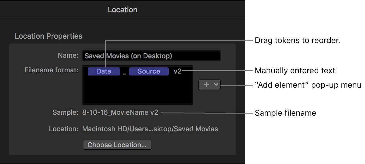 """Informationsfenster """"Speicherort"""" mit Optionen zum Anpassen des Dateinamenformats"""