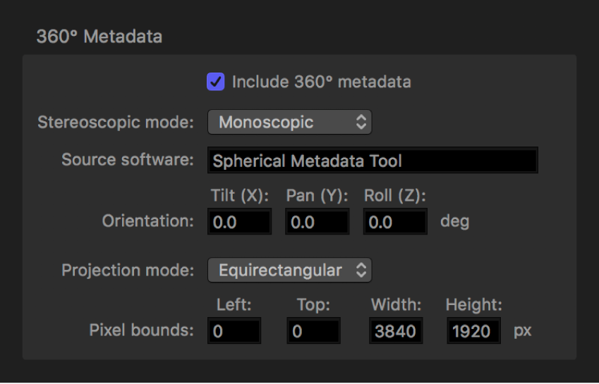 360° Metadata area of Job inspector.