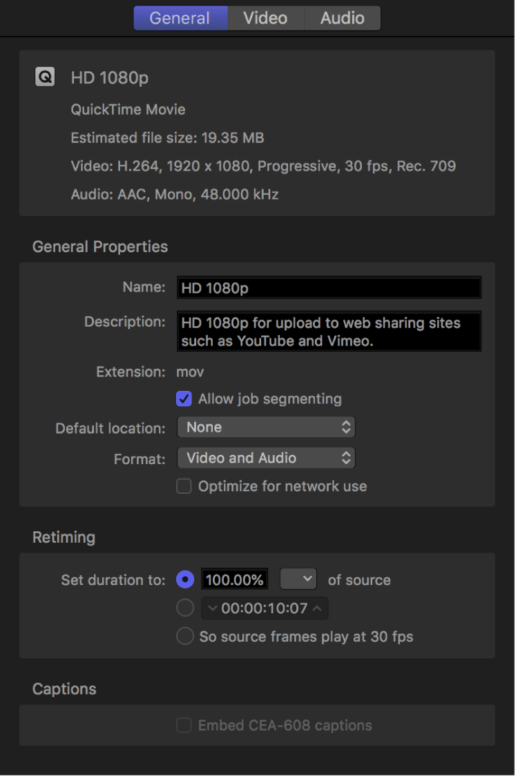 Inspector showing properties for HD 1080p setting