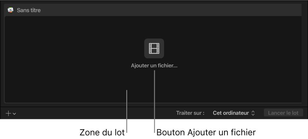 Zone du lot reprenant le bouton Ajouter un fichier