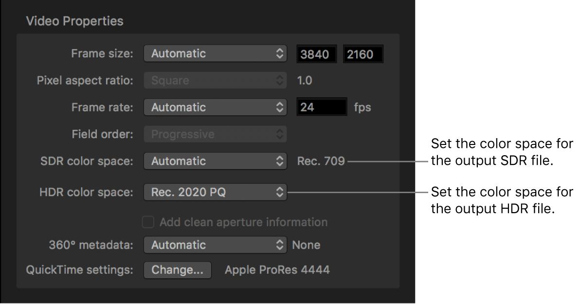 「ビデオ」インスペクタの「ビデオのプロパティ」領域。出力ファイルの色空間を設定する「SDR色空間」ポップアップメニューと「HDR色空間」ポップアップメニューが表示されています。