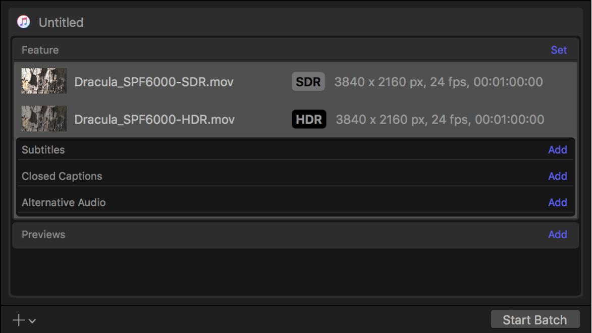 SDRビデオとHDRビデオの出力行が表示されているバッチ領域。