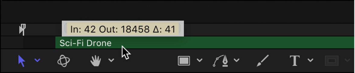 Mini-Timeline mit Audioclip, der zeitlich verschoben wird