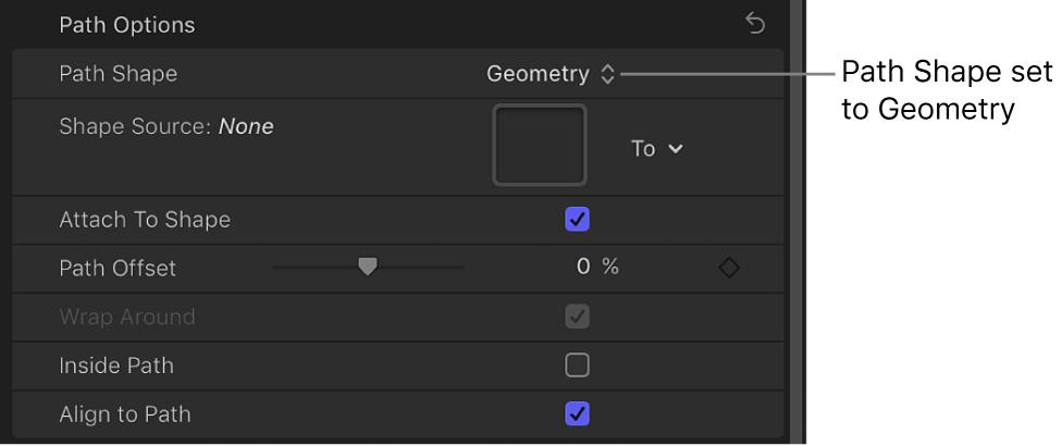 """Einblendmenü """"Form des Pfads"""", das auf """"Geometrie"""" eingestellt ist, im Bereich """"Layout"""" des Informationsfensters """"Text"""""""