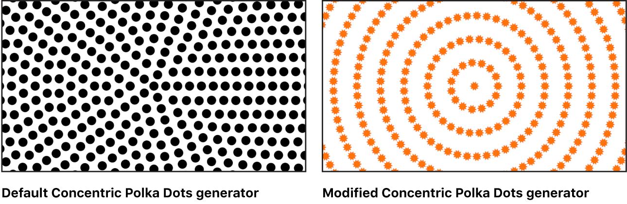 """Canvas mit dem Generator """"Konzentrische Farbmuster"""" und verschiedenen Einstellungen"""