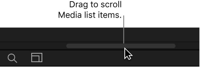 """Bereich """"Projekt"""" mit Liste """"Medien"""" und allen Spalten"""