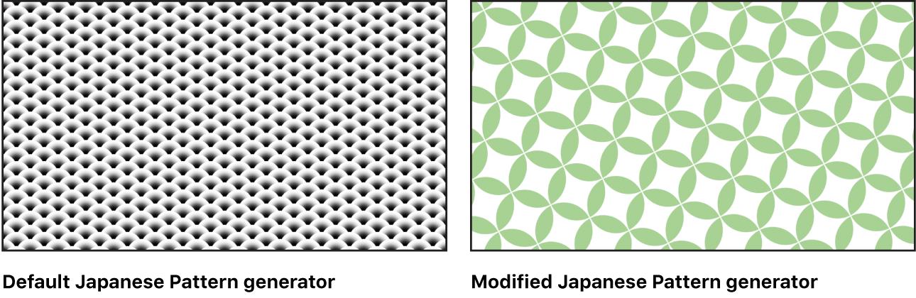 """Canvas mit dem Generator """"Japanisches Muster"""" und verschiedenen Einstellungen"""