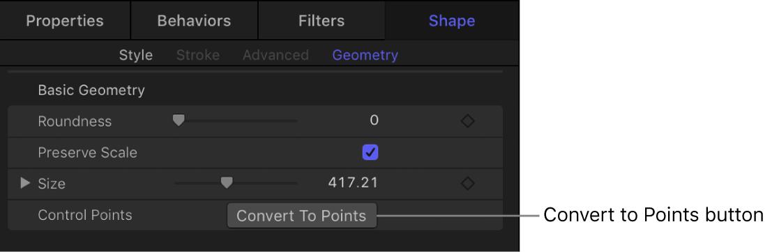 """Bereich """"Geometrie"""" der Form mit der Taste """"In Punkte konvertieren"""""""