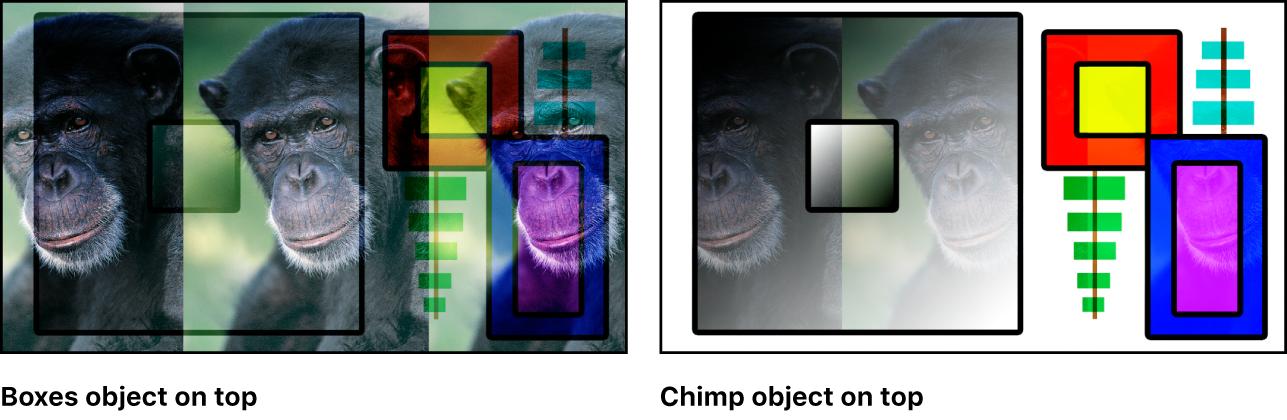 """Canvas mit Kombination aus Farbfeldern und dem Affen unter Verwendung der Füllmethode """"Weiches Licht"""""""