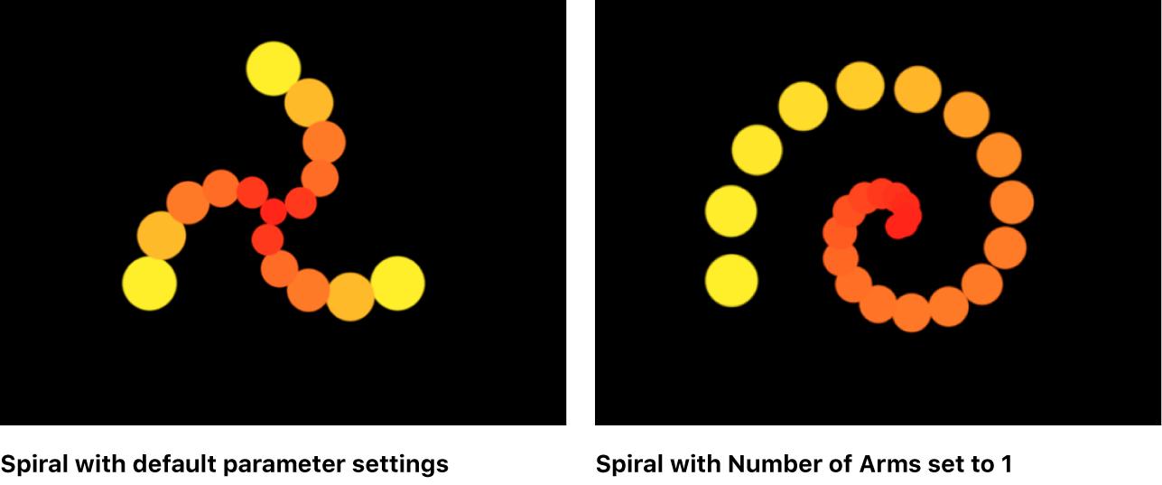 Vergleich spiralförmiger Replikatoren im Canvas, bei denen die Anzahl der Arme auf 0,25 und 1 eingestellt ist
