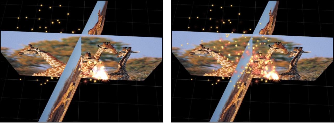 """Canvas mit Anzeige der Auswirkungen der Einstellungen """"In globalem 3D"""" und """"In lokalem 3D"""""""