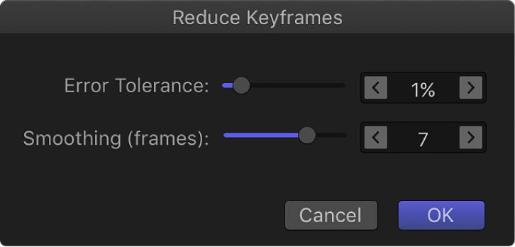 """Dialogfenster """"Keyframes reduzieren"""""""