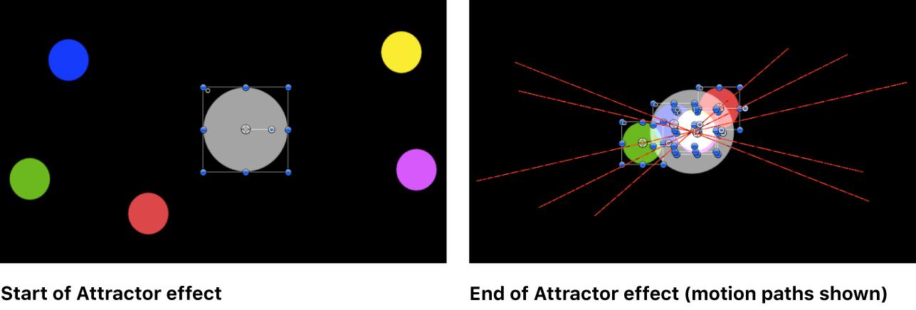 """Canvas, der ein Beispiel für das Verhalten """"Anziehungspunkt"""" zeigt"""