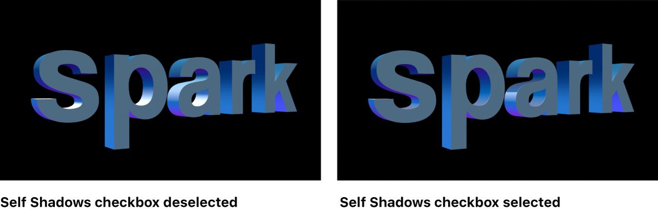 """3D-Text im Canvas mit deaktiviertem und aktiviertem Markierungsfeld """"Eigener Schatten"""""""