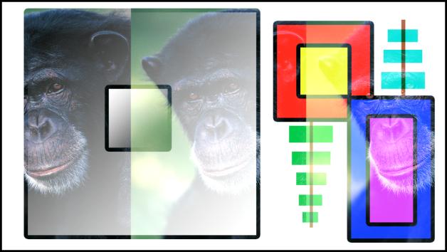 """Canvas mit Kombination aus Farbfeldern und dem Affen unter Verwendung der Füllmethode """"Hinzufügen"""""""