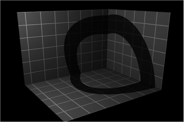 Canvas mit einem Objekt, das einen Schatten wirft, aber selbst nicht sichtbar ist