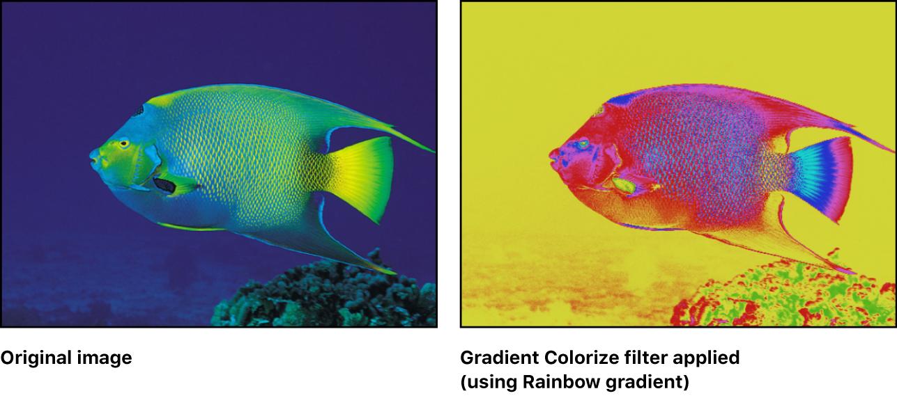 """Canvas mit dem Effekt des Filters """"Farbe über Verlauf"""""""