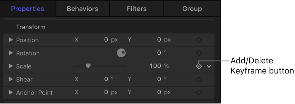 """Taste """"Keyframe hinzufügen/löschen"""" im Informationsfenster."""