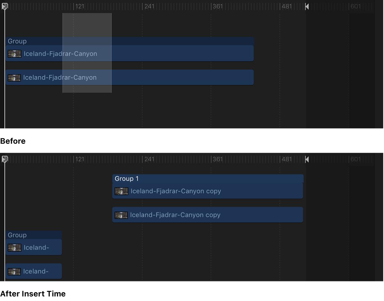 Timeline mit leerem Abschnitt, der in eine Sequenz eingefügt wird