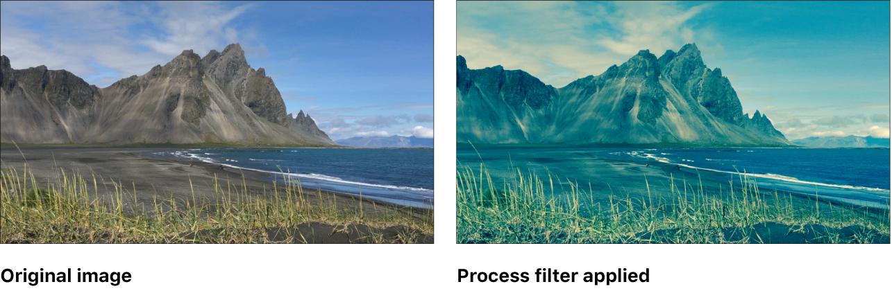 "Canvas mit dem Effekt des Filters ""Prozess"""