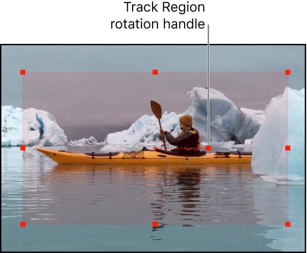 Canvas mit Begrenzungen und Aktivpunkten einer Spurregion